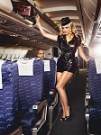 Stewardess Vinyl Dress, Skirt, Gold Badge, Gold Scarf & Headwear Set