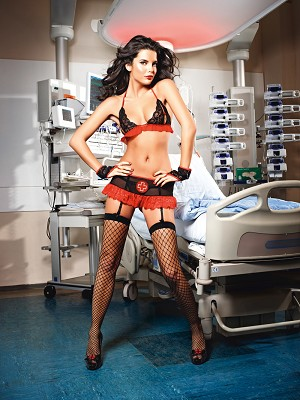Show Me Top, Gloves and Mini Skirt with Garter